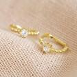 Lisa Angel Gold Sterling Silver Crystal Huggie Hoop Earrings