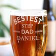 Lisa Angel Men's Personalised 'Bestest Step Dad' Engraved Pint Glass