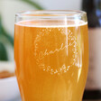 Personalised Engraved Wreath Pint Glass