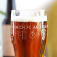 Personalised Football Club Pint Glass Gift