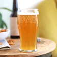 Personalised Name Father's Day Pint Glass for Him