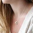 Personalised Sterling Silver Double Hoop Family Necklace Worn By Model