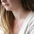 Model Wears Personalised Sterling Silver Double Hoop Family Necklace