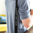 Close up of personalisation on Lisa Angel Personalised Message 2 in 1 Yoga Belt and Sling in Black