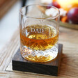 Lisa Angel Personalised Engraved Vintage Style Etched Whisky Tumbler with Wooden Base