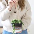 Lisa Angel with Ceramic Sass & Belle Black Mojave Glaze Hanging Planter