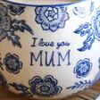 Lisa Angel with Ladies' Sass & Belle Blue Willow 'Mum' Mug