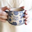 Lisa Angel with Sass & Belle Blue Willow 'Mum' Mug
