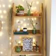 Green Glass Bud Vases on Shelf