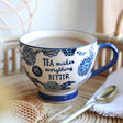 Lisa Angel with Hand-Painted Sass & Belle Large Blue Willow Floral Mug
