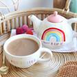Lisa Angel with Ceramic Sass & Belle Rainbow 'Positivitea' Teapot and Mug Set