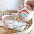 Lisa Angel with Colourful Sass & Belle Rainbow 'Positivitea' Teapot and Mug Set
