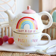 Lisa Angel with Sass & Belle Rainbow 'Positivitea' Teapot and Mug Set