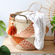 Lisa Angel with Bohemian Sass & Belle Terracotta Check Woven Seagrass Basket