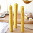 Set of 3 Natural Beeswax Candles