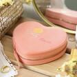 Lisa Angel Ladies' Pink Personalised Colourful Birth Flower Heart Travel Jewellery Case
