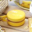 Lisa Angel Yellow Personalised Birth Flower Mini Round Travel Jewellery Case