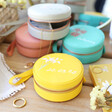 Lisa Angel Colourful Personalised Birth Flower Mini Round Travel Jewellery Case