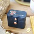 Lisa Angel Navy Personalised Birth Flower Petite Travel Ring Box