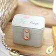 Lisa Angel Grey Personalised Birth Flower Petite Travel Ring Box
