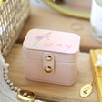 Lisa Angel Light Pink Personalised Birth Flower Petite Travel Ring Box