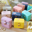 Lisa Angel Colourful Personalised Birth Flower Petite Travel Ring Boxes