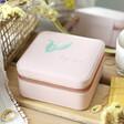 Lisa Angel Ladies' Pink Personalised Colourful Birth Flower Square Travel Jewellery Box