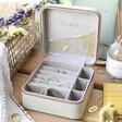 Lisa Angel Grey Personalised Colourful Birth Flower Square Travel Jewellery Box