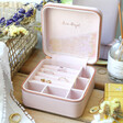 Lisa Angel Pink Personalised Colourful Birth Flower Square Travel Jewellery Box