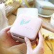 Lisa Angel Personalised Colourful Birth Flower Square Travel Jewellery Box
