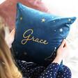 Lisa Angel Personalised Name and Constellation Velvet Cushion