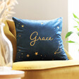 Lisa Angel Personalised Name and Constellation Velvet Cushion in Navy