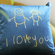 Lisa Angel Personalised 'Your Drawing' Square Velvet Cushion in Navy Close Up