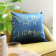 Lisa Angel Personalised 'Your Drawing' Square Velvet Cushion in Navy