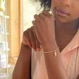 Beaded Wing Charm Bracelet in Rose Gold on Model