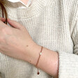 Model Wearing Lisa Angel Ladies' Dainty Seed Bead & Pearl Bracelet in Rose Gold
