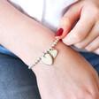 Model Wearing Ladies' Personalised Adjustable Sparkle Bead Bracelet