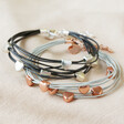 Lisa Angel Ladies' Delicate Multi-Strand Heart Bracelet in Black and Silver