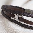 Lisa Angel Men's Personalised Brown Leather Stainless Steel Infinity Bracelet for Husband