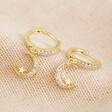 Lisa Angel Crystal Moon Huggie Hoop Earrings in Gold