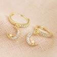 Lisa Angel Ladies' Crystal Moon Huggie Hoop Earrings in Gold