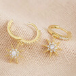 Lisa Angel Crystal Star Huggie Hoop Earrings in Gold