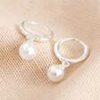 Lisa Angel Glass Pearl Huggie Hoop Earrings in Silver