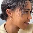 Model Wears Lisa Angel Ladies' Gold Sterling Silver and Pearl Dotted Hoop Earrings