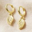 Lisa Angel Wing Charm Huggie Hoop Earrings in Gold