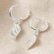 Lisa Angel Wing Charm Huggie Hoop Earrings in Silver clasp open