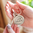 Lisa Angel Personalised Antiqued Silver 'Our Place' Keyring