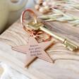 Lisa Angel Rose Gold Engraved Personalised Shiny Star Keyring
