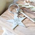 Lisa Angel Silver Engraved Personalised Shiny Star Keyring