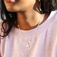 Model Wears Lisa Angel Tiny Crystal Star Charm Necklace